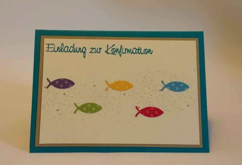 Einladung Kommunion Konfirmation Taufe | Fische Von Stempeldorf Auf  DaWanda.com