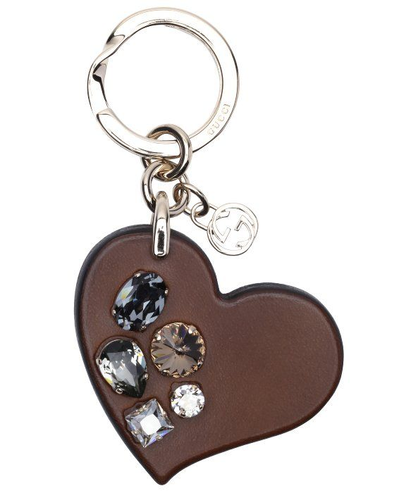 2a6982df66c Gucci brown crystal embellished leather heart keychain