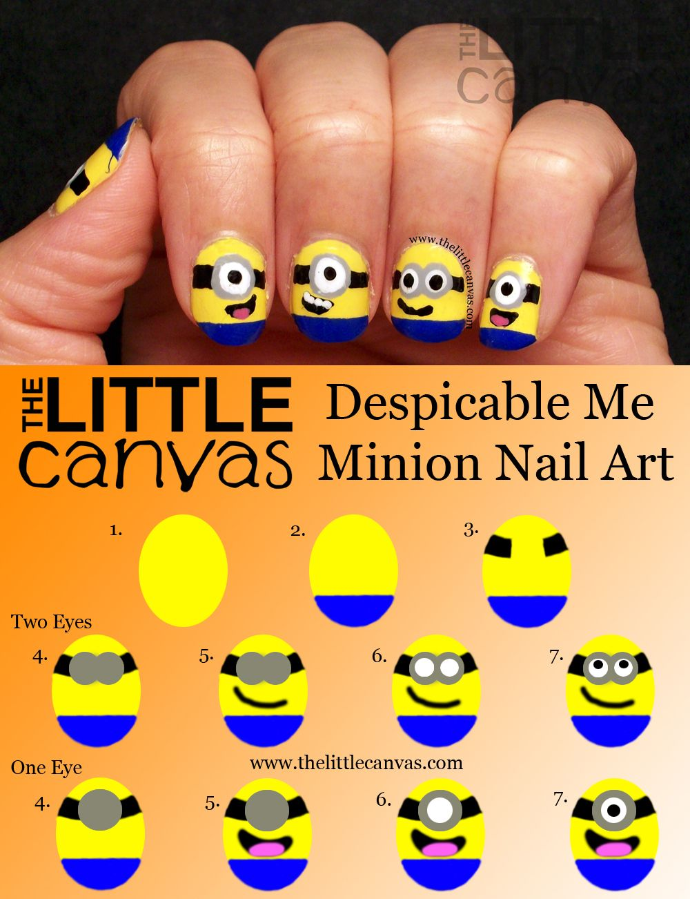 Minion nail art...of course if I did them, they\'d look like black ...
