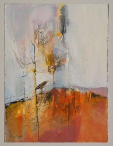 "Flight Plan-Abstract Landscape by Joan Fullerton Mixed Media ~ 38"" x 30"""