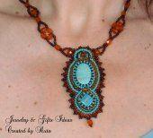 Beautiful beaded necklace. Turquoise cabochon. € 40 #bijoux #jewelry #handmade