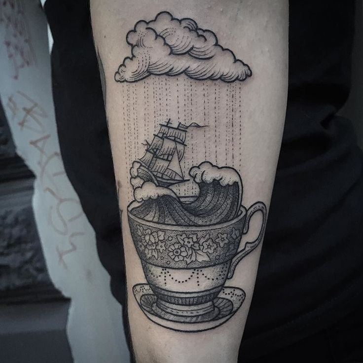 stormy weather sea tattoo