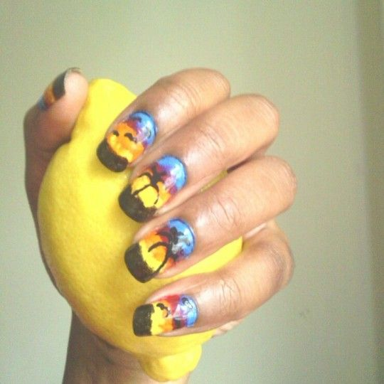 Rasta Eye Catching Rasta Tropical Beach Inspired Nail Art Design