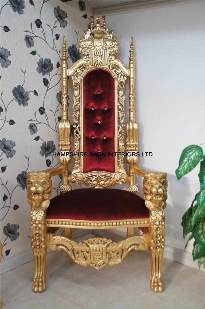 Lion king throne chair gold red velvet furniture for Throne chair plans