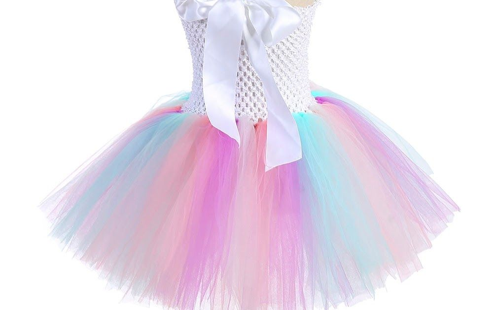 c82ad29f9b690 Hot Offer Pastel Light Color Girl Unicorn Tutu Dress Flowers Girls 1ST  Birthday Party Tulle Dress