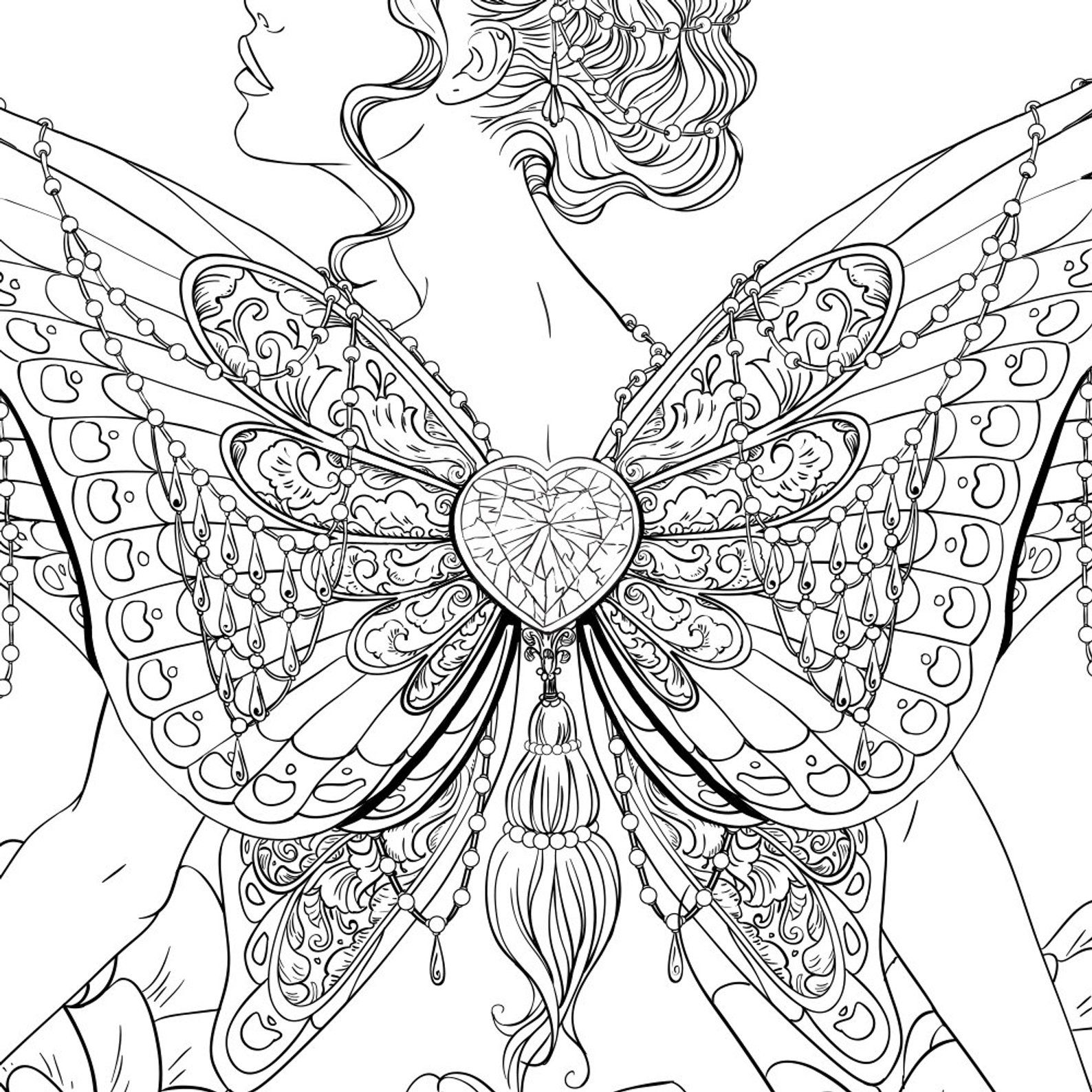 Adult coloring page fantasy butterfly line art butterfly