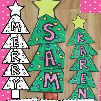 Christmas Tree Name Word Craft Kindergarten Christmas Crafts Preschool Christmas Christmas Kindergarten