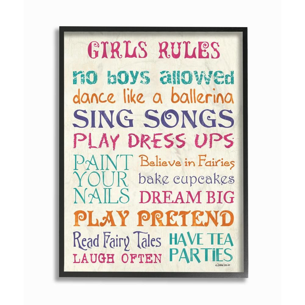 The Kids Room By Stupell 16 In X 20 In Pink Teal Orange And Purple Girls Rules By Debbie Dewitt Printed Framed Wall Art Multi Colored Kids Wall Decor Orange Purple Girls Rules