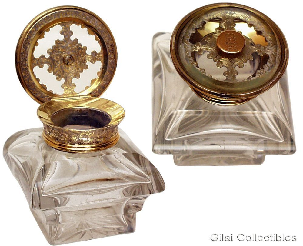A Heavy French Cut Glass Inkwell With Gilt Hinged Lid.