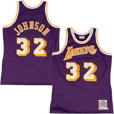Mitchell   Ness Los Angeles Lakers Magic Johnson 1984-85 Hardwood Classics  Authentic Road Jersey e99f061d2