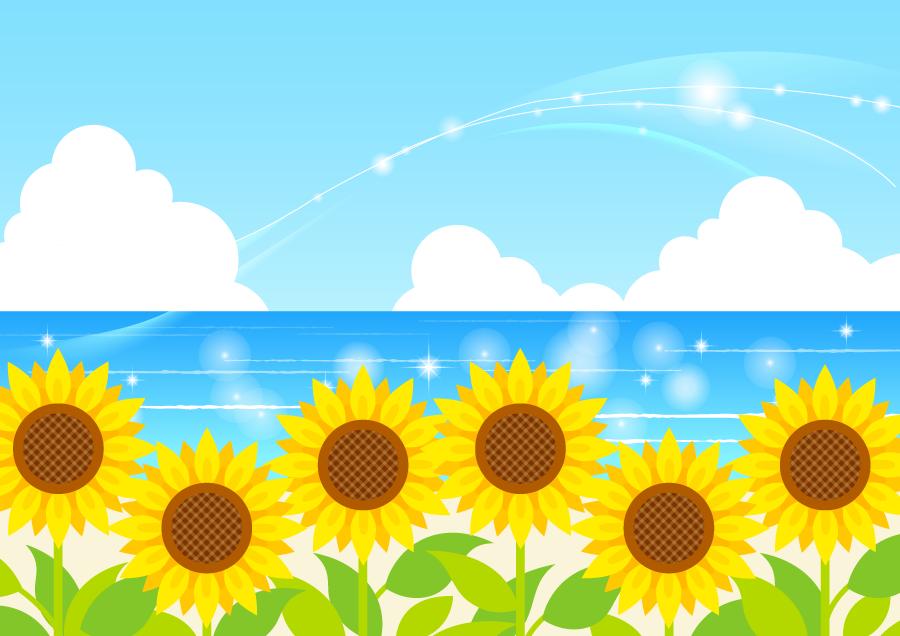 フリーイラスト ヒマワリの花と夏の海の背景 誕生日 カード イラスト ひまわり 絵 花 イラスト