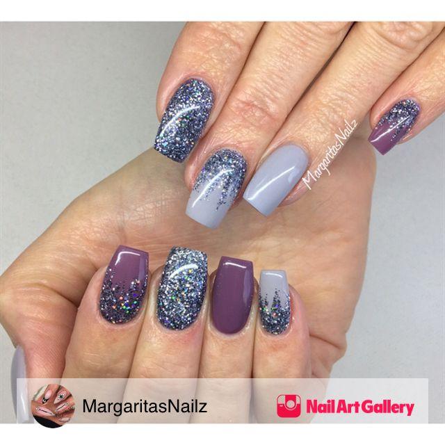 Grey Nails With Glitter Ombré by MargaritasNailz via Nail Art ...