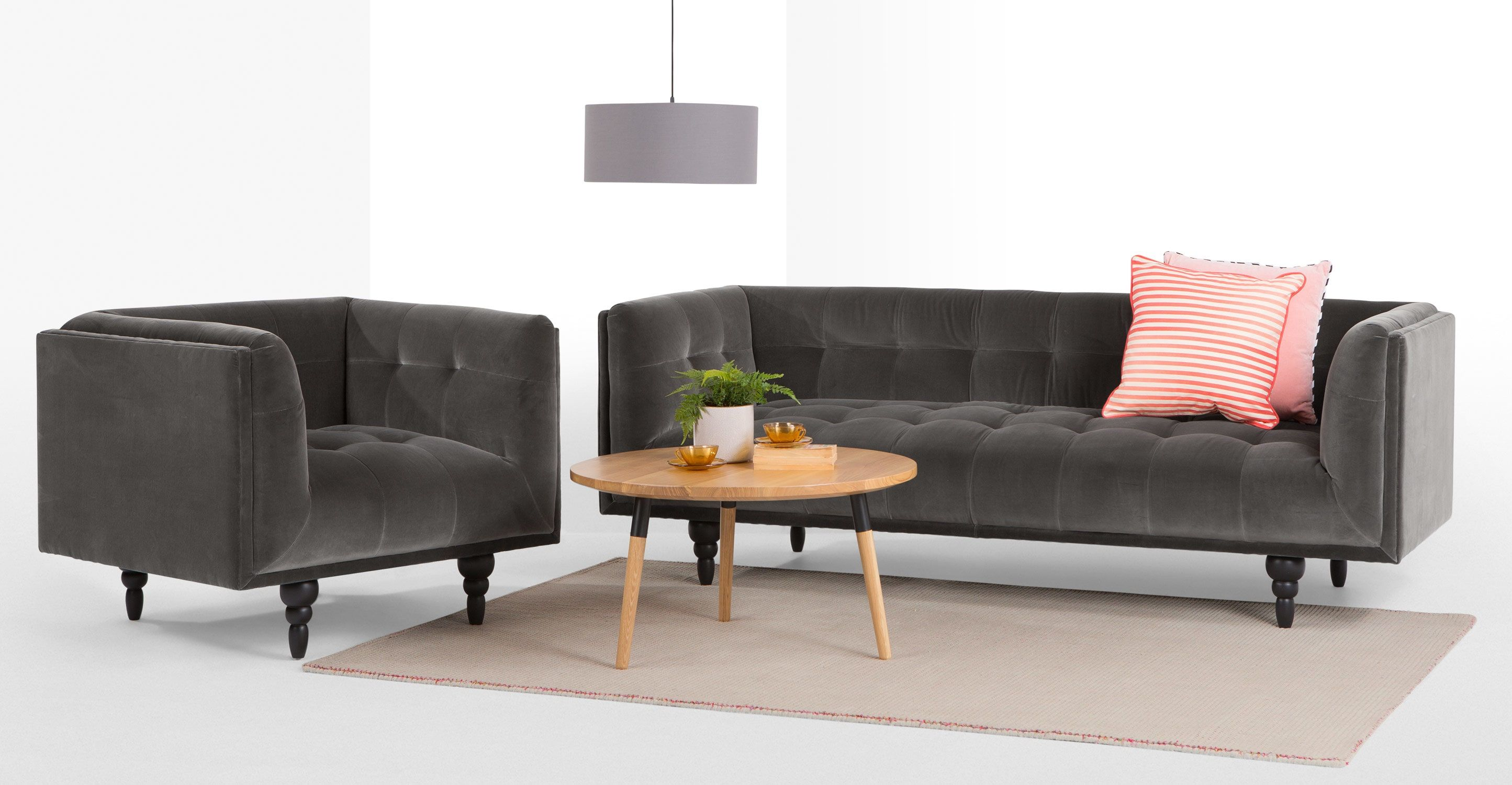 Connor 3 Seater Sofa Concrete Cotton Velvet from Made Grey