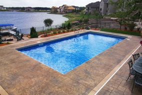stamped concrete pool deck | guest house and pool | pinterest