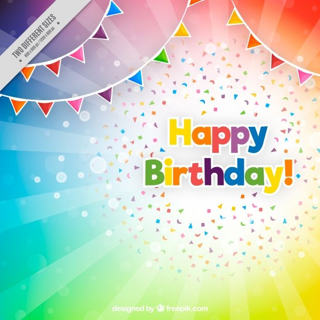 Colorful Birthday Background Free Vector Happy Cards Greetings