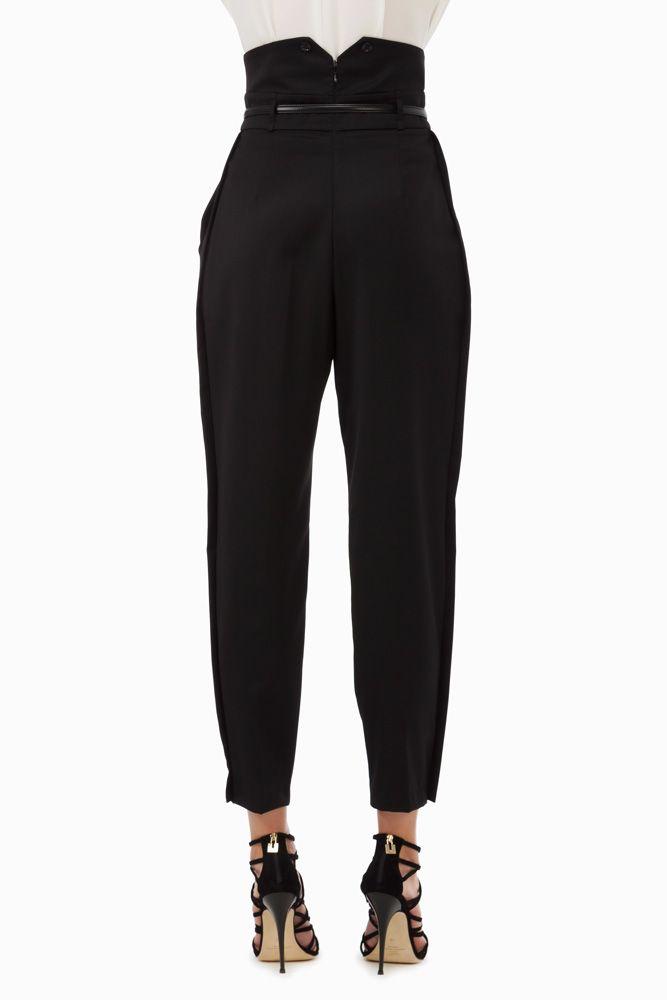 Pantaloni vita alta con cintura