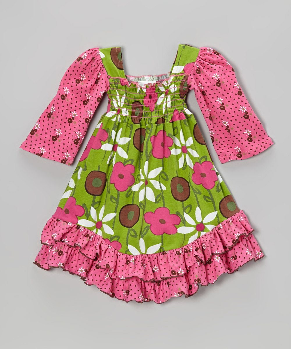 Take a look at this Brown Spotted Garden Shirred Dress - Infant, Toddler & Girls on zulily today!