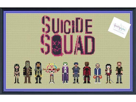 Suicide Squad Cross Stitch Pattern DIGITAL PDF by knottybytes $5. Enchantress, Killer Croc, Slipknot, Harley Quinn, Joker, Captain Boomerang, Deathstroke, Diablo, Katana, Rick Flag.