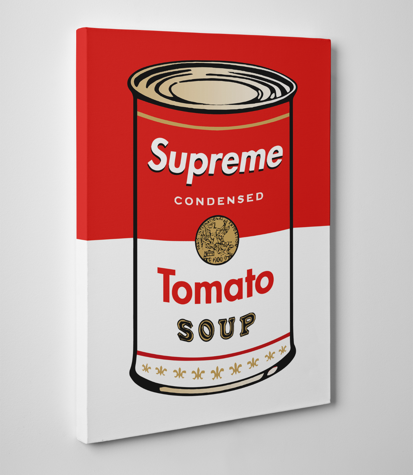 5b4be36264f0 SUPREME X ANDY WARHOL Tomato Soup Campbells Can Gallery Art Canvas Series  11x14