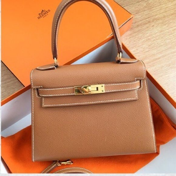 fd77583027 ... Bag with Chain in Metallic Leather. Hermes mini Kelly used like new authentic  Hermes mini Kelly stamp A gold Epsom…