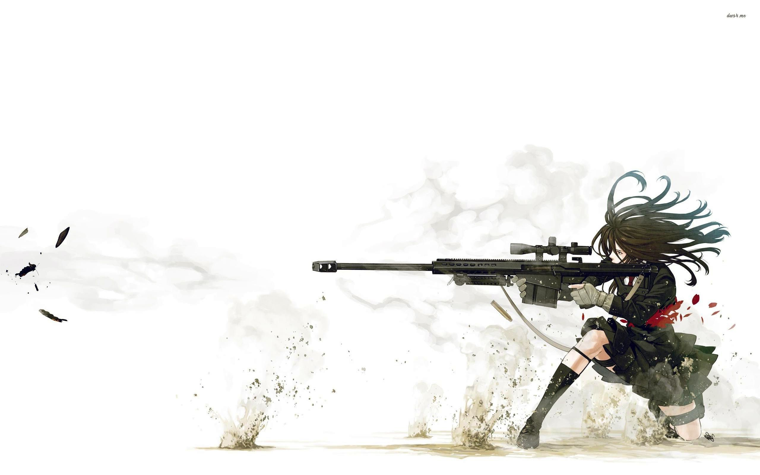 Anime Girl With Sniper Wallpaper | Soldier II | Pinterest | Wallpaper