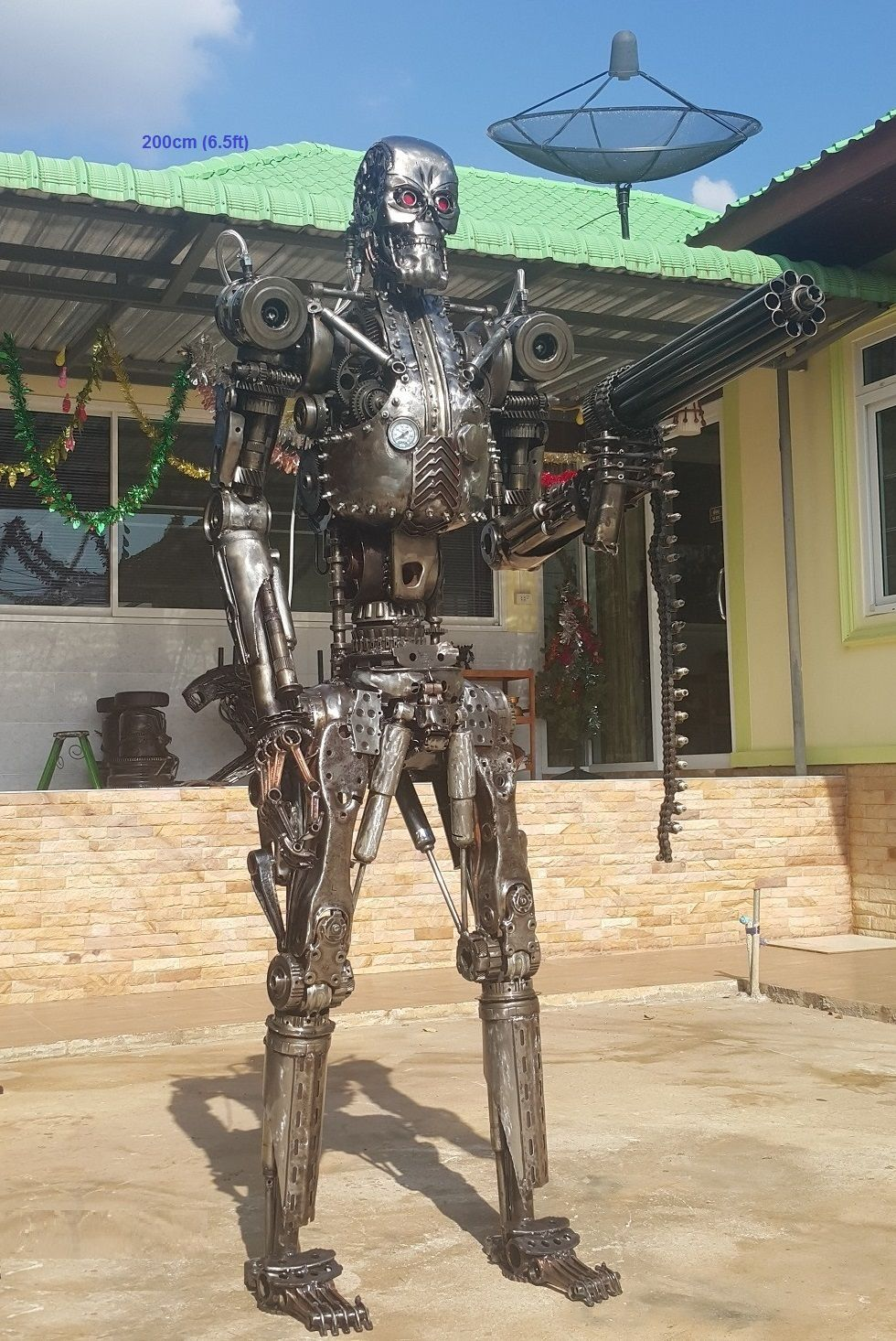 terminator statue life size scrap metal art for sale | Metal