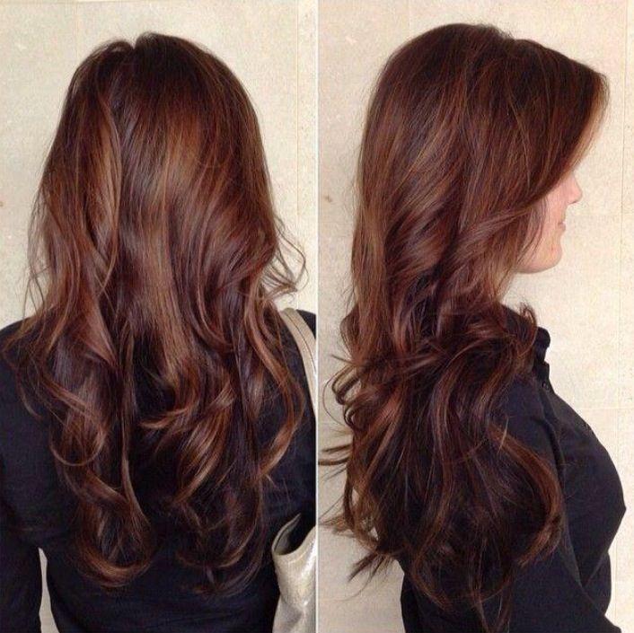 Dark Chocolate Brown Base With Caramel Balayage Highlights Hair
