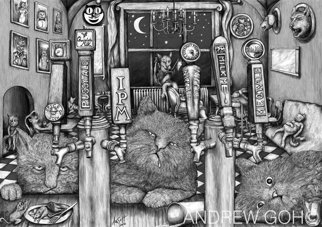 Cats on the booze #cats #drunk #lactoseintolerant #wacomtablet #illustration #sketch #catstagram #art #andrewgohuk