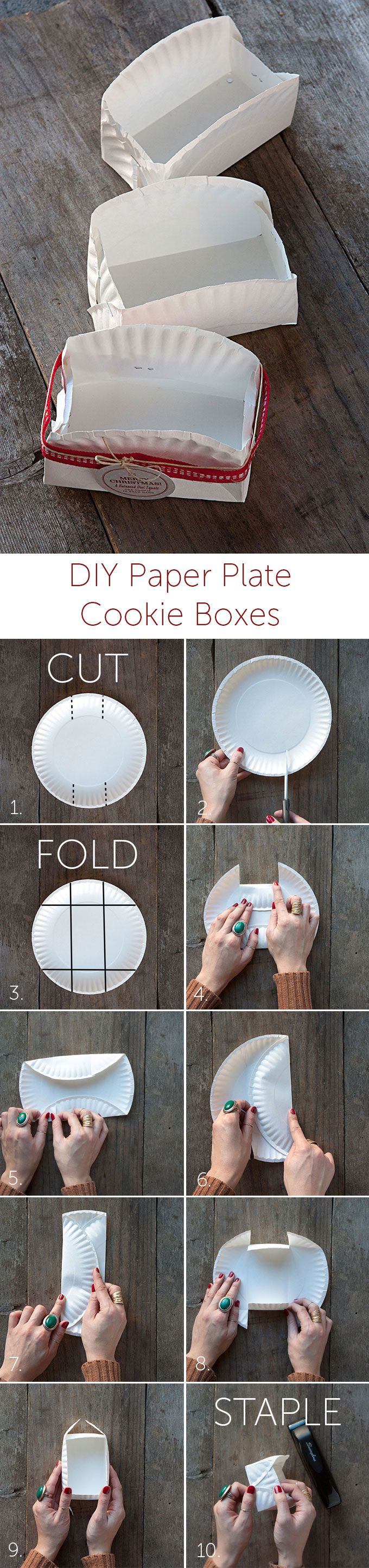 Holiday DIY Paper Plate Cookie Boxes Cookie box, Bake