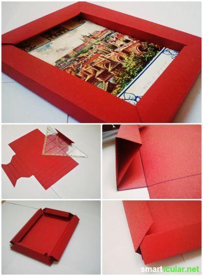 3d bilderrahmen mit origami selber falten ohne kleber schenken. Black Bedroom Furniture Sets. Home Design Ideas