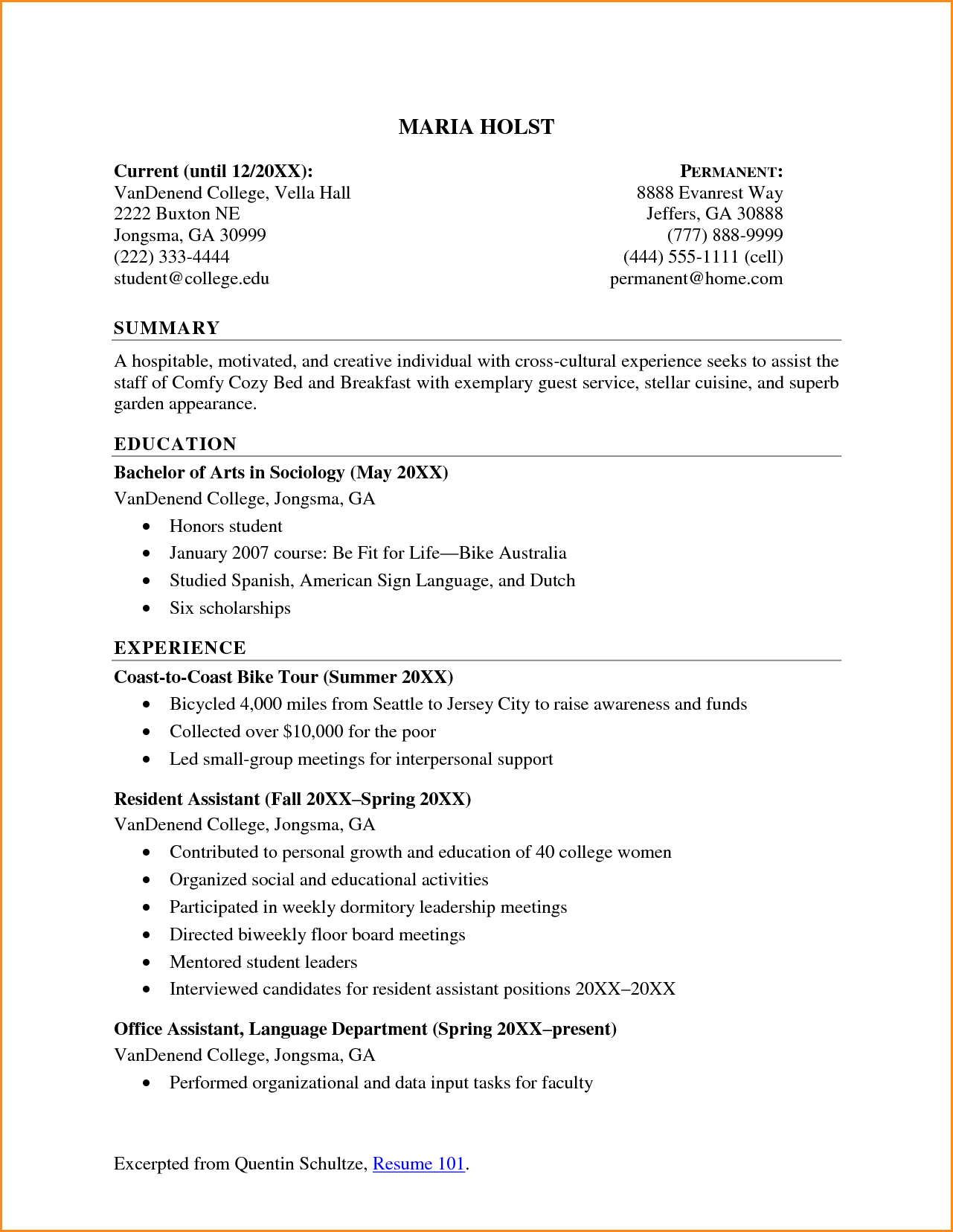 Sample Resumes For High School Students Fair High School Student Resume For College Invoice Template Download .