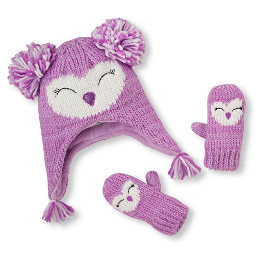 ee574327af0 Baby Girls Toddler Shimmery Owl Pom Pom Hat And Mittens Set - Purple - The  Children s Place