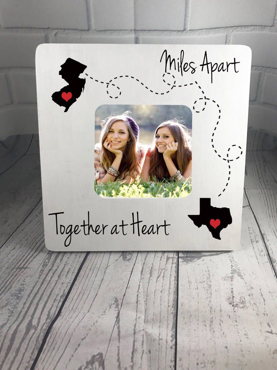 Personalized Picture Frame, Miles Apart, Together at Heart, Best ...