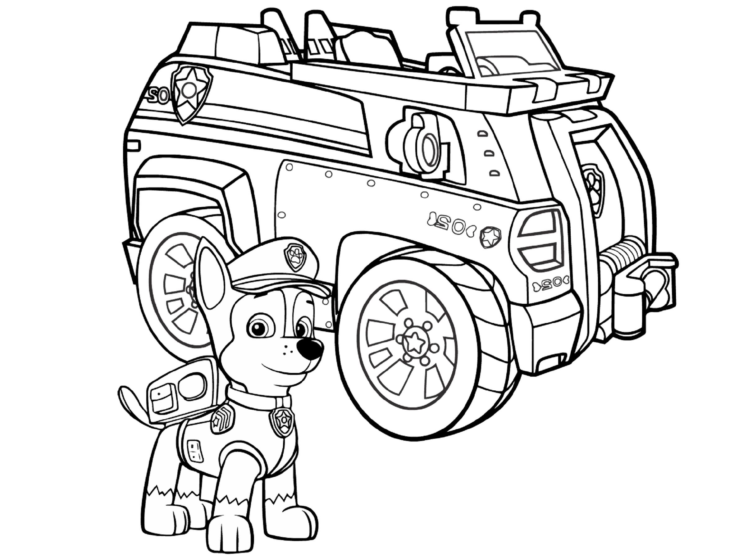 Chase Paw Patrol Coloring Pages Display