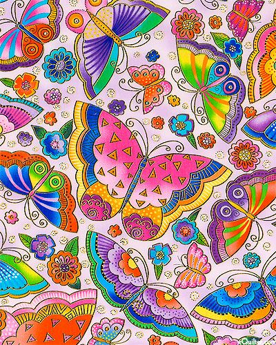 'Fabulous Felines' collection, by Laurel Burch for Clothworks.-Cloud Of Jeweled Wings - Lavender/Gold