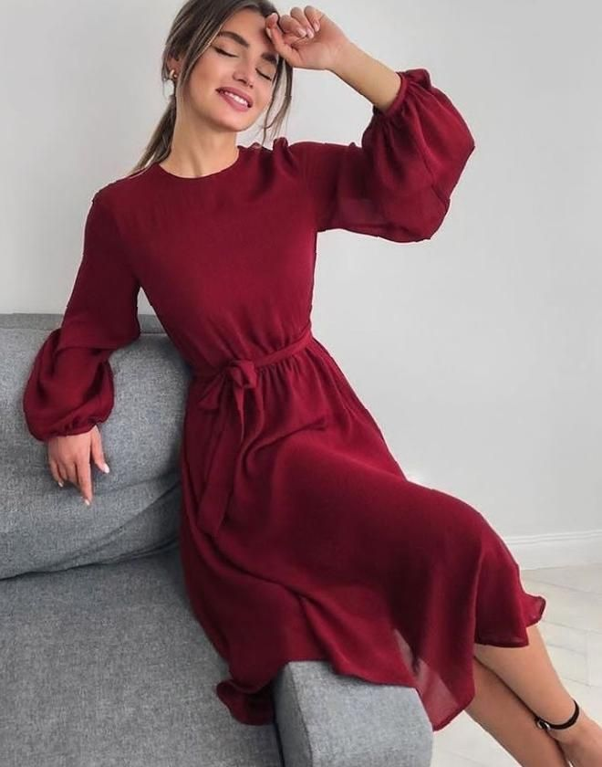 Nice solid-colored sweater dress in winter - SooSh