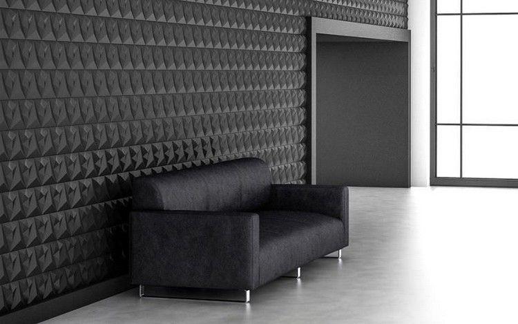 carrelage 3D modulable en noir, canapé droit design et carrelage sol gris perle