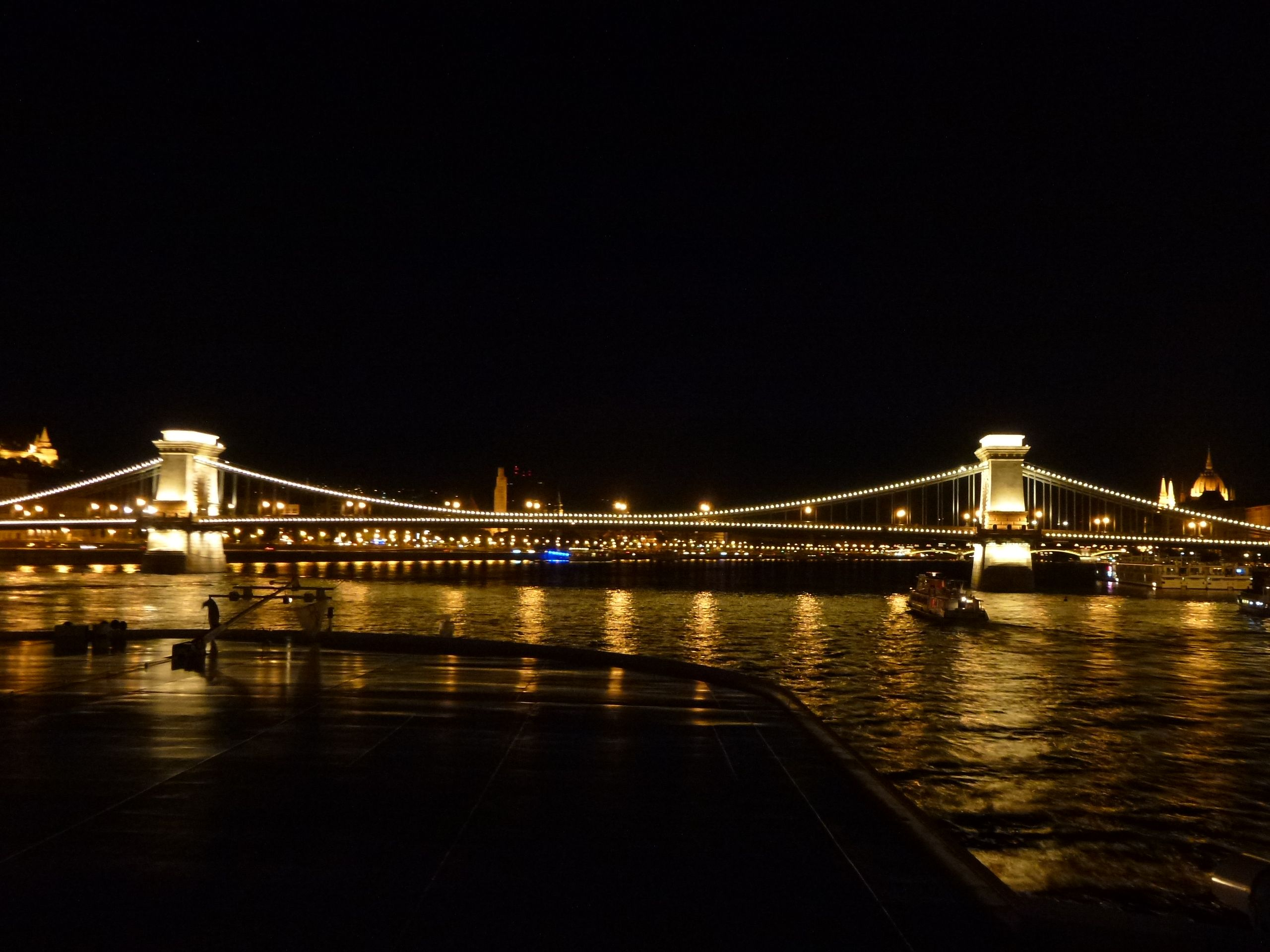 Danube River Cruise Ship    ||  DerTour Mozart   ||  Budapest, Hungary - Night Cruise - Chain bridge  ||  140510
