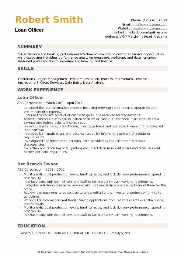 loan officer resume sample elegant loan ficer resume