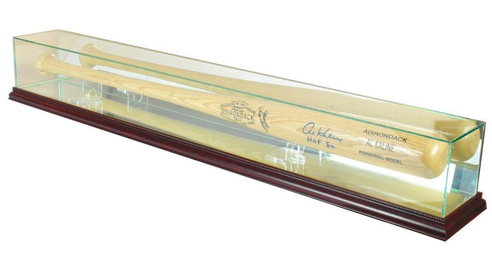 Premium baseball bat display case with mirrored back