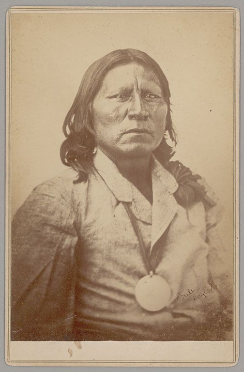 "Satanta - leader of the war faction of the Kiowa tribe. He was known as ""the orator of the Plains"" for his oratory skills in treaty making and ability to speak 5 languages. He gained fame as a young warrior, at times using an army bugle to confuse US troops in battle. Eventually rose to become principle war chief. Sentenced to life in prison for his part in a Texas wagon train massacre, he was unwilling to spend his life in prison and committed suicide by leaping from a high second story…"