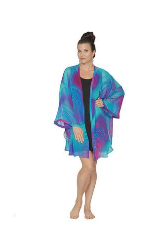 Eco Diva Boysenberry Swirl Short Kimono $189 #sustainable #ecofashion