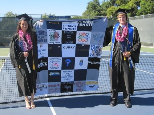 gift for a UC Davis grad and 4 year tennis starter. A real story from a Project Repat t-shirt quilt customer