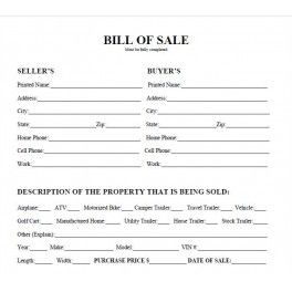 Bill Of Car S Auto Blank Form Template