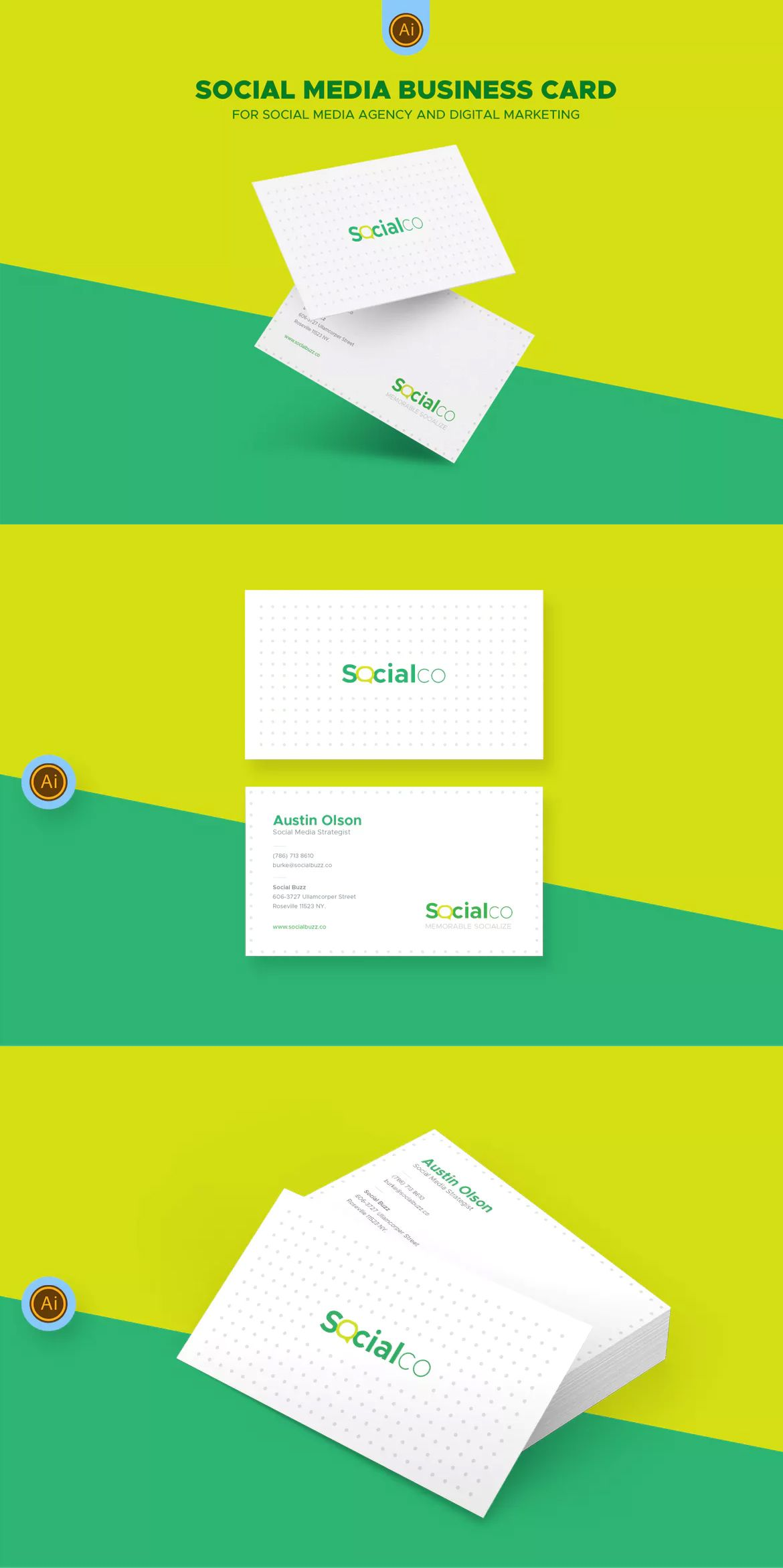 Social Media Business Card Template AI, EPS | Business Card ...