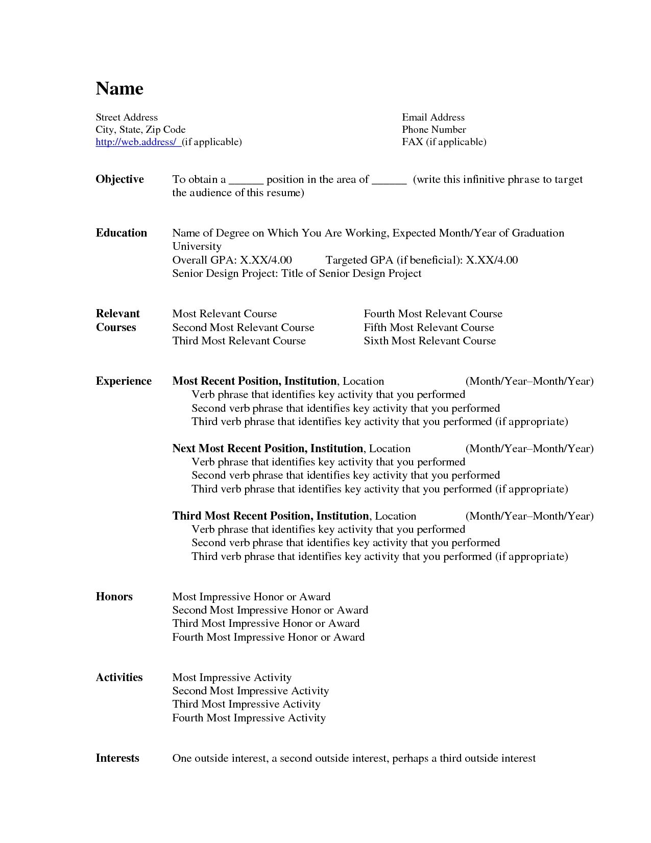 Template Of Resume Photo Ms Word Resume Format Images The Ms Word Resume Format