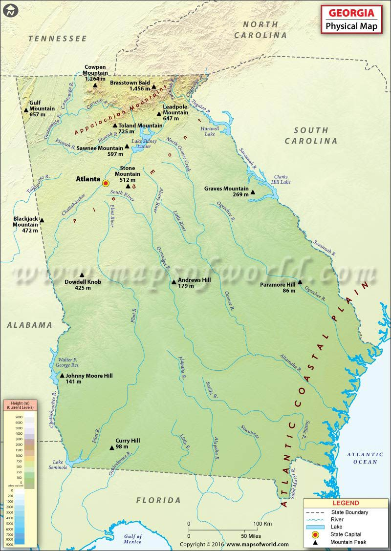 Physical Map Of Georgia Usa Maps Pinterest Hiking In Georgia