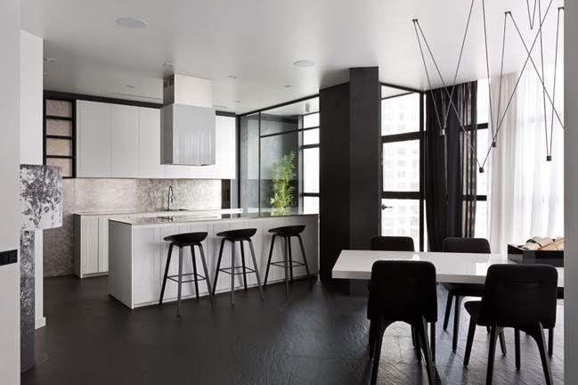 Ấn tượng căn hộ chung cư với nội thất trắng đen House