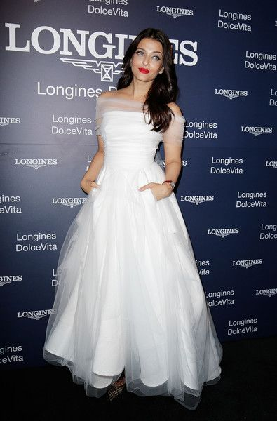 f10587cd84b Aishwarya Rai Off-the-Shoulder Dress - Aishwarya Rai looked angelic in a  white tulle off-the-shoulder gown by Toni Maticevski at the Longines  DolceVita Asia ...