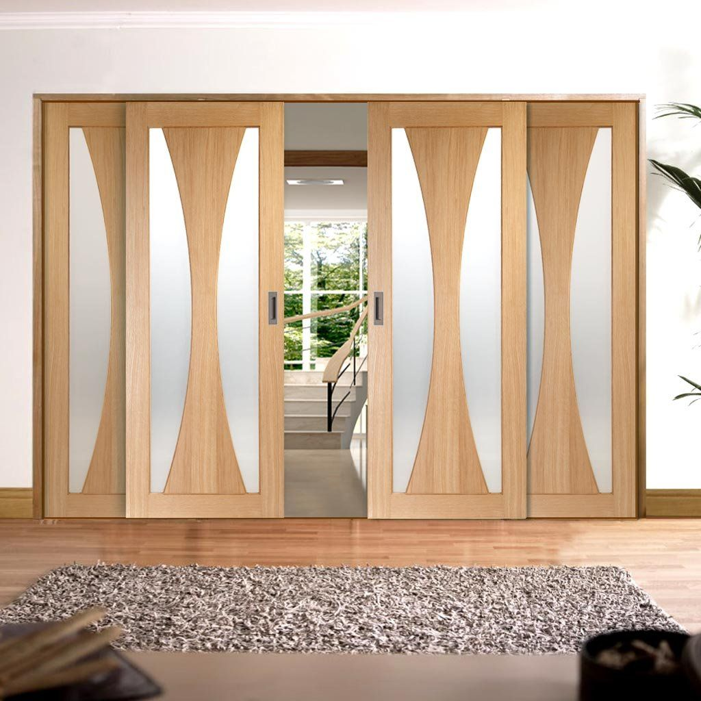 Easislide op obscure glazed oak verona sliding door system in four